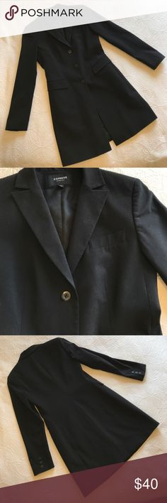 """🌟EUC🌟Express Stretch Black Lined Blazer 3/4 🌟EUC🌟Express Stretch Black Lined Blazer 3/4 🔹Armpit to armpit = 17.5"""" 🔹Length center of neck to back of hem = 33"""" ✅Offers Welcome w/Offer Button 🚫Trade 🚫PP 💰30%OffBundle 📦Ships1Day. Express Jackets & Coats Blazers"""