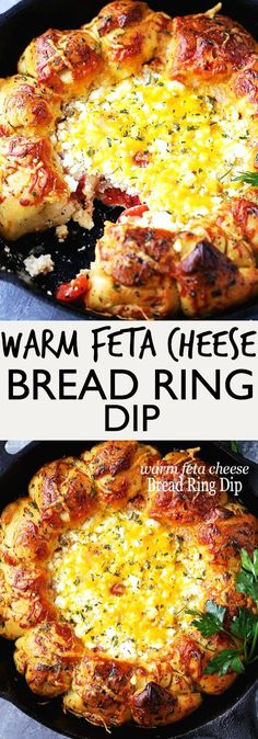Warm Feta Cheese Bread Ring Dip – Soft and buttery pull apart rolls baked around a warm feta cheese dip! #footballfood #breadrecipes