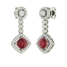 Earrings - Lisha - Ruby Earrings in 14k White Gold with SI Diamond (2.35 ct.tw.)