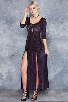 Burned Velvet Jewel Long Sleeve Maxi Dress ($130AUD) by BlackMilk Clothing