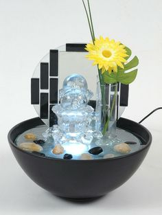 Indoor Tabletop Glass & Ceramic Water Feature Fountain New - DF50218