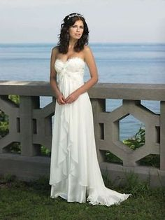 Chiffon Beach Wedding Dress Bridal Gown Custom Size 2 4 6 8 10 12 14 16 18 - EXCLUSIVE DEAL! BUY NOW ONLY $90.68
