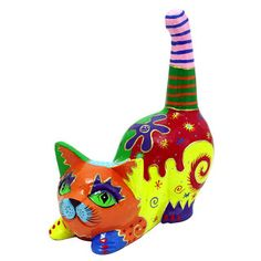 @Overstock - Multicolored Pouncing Cat Statue (Indonesia) - Brighten up your decor with this handmade cat statue from Indonesia. Crafted from clay, this cute pouncing cat is an entertaining accent piece, and adds a quirky touch and a bit of fun to your home. Place it beside your door to welcome guests.  http://www.overstock.com/Worldstock-Fair-Trade/Multicolored-Pouncing-Cat-Statue-Indonesia/7955009/product.html?CID=214117 $24.49