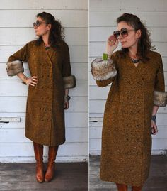 70s Wool Double Breasted Coat Jacket with Faux by LaDeaDeiSogni, $88.00