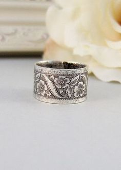 Petite Blossom Ring,Silver,Ring, Flower,Rose Ring,Antique Ring,Silver Ring,Blossom,Posey. Handmade jewelery by valleygirldesigns. on Etsy, $19.00