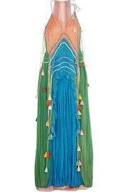 ChloéTasseled ruffled silk-crepon gown