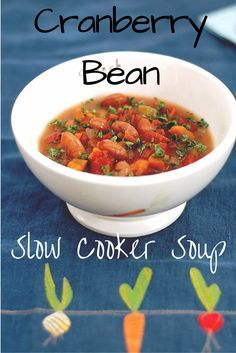 Warm up with this easy Slow Cooker Cranberry Bean Soup that's full of vegetables