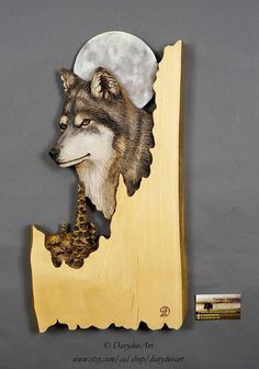 Wolf Carved on Wood Wood Carving with Bark Hand Made Gift Wall