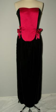 Authentic Guy Laroche Vintage Velvet Gown with Pink Silk Bib and Bows Size 38 | eBay