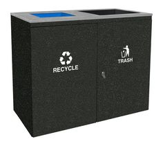 90 Gallon Ellipse Dual Recycle Bin RGU-3645 ID GRPH/HMG BLACK