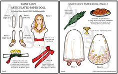 Saint Lucy Paper Doll - Color and Black and White (Articulated) Helen Smith, Sainte Lucie, Latin Words, Hole Punch, Paper Dolls, Catholic, Xmas, Christmas Paper, Christmas Ornaments