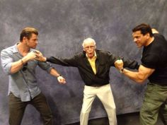 Stan Lee gets between Thor and the Hulk.