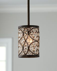 """""""Crystalline"""" Mini Pendant Light - - Drum-shaped pendant light is wrapped with scrolling accents filled with polished crystals. Imported.  •Wrought-iron frame with antique-bronze finish."""