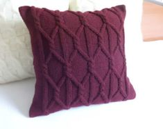 Custom plum chunky hand knit pillow cover, Marsala knit cushion cover, decorative couch pillow, throw pillow 16 x16,18 x18, 20 x 20, 24x24