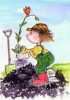 Gardening is nice hobby! Art And Illustration, Heart Art, Whimsical Art, Garden Art, Garden Theme, Painting On Wood, Cute Art, Pixel Art, Summer Fun
