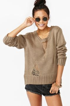 Soho Shredded Knit in Taupe