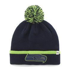 86e4747da8d6a Seattle Seahawks 47 Brand Navy Green Baraka Knit Cuffed Poofball Beanie Hat  Cap