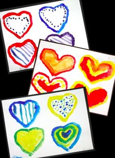 Pop Art Hearts - Primary Colors -- color mixing art lesson for Valentine's Day or any time!