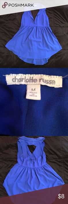 Charlotte Russe Blouse Royal blue blouse from Charlotte Russe. It's on the longer side so I think it goes good with leggings. The back is open and it is flowy. Charlotte Russe Tops Blouses