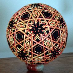 temari balls by Louise O'Donnel with silk thread 4