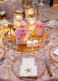 Beach Table Setting, Gold Rimmed Plates, elegant centerpiece.