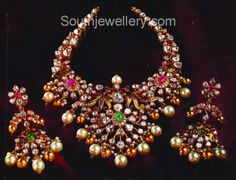 Necklaces – Page 9 – Finest Jewelry Indian Wedding Jewelry, Bridal Jewelry, Indian Jewelry, Indian Weddings, Indian Bridal, Pearl And Diamond Necklace, Gold Necklace, Diamond Jewelry, Gem Necklaces