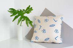 16 x 16 bronceado y azul confeti cara imprimir almohada cubierta, lino y algodón
