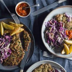 Parsley Beef Schnitzel with Wedges and Slaw by Nadia Lim | NadiaLim.com