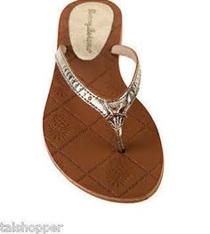 Tommy Bahama Hayleigh Gold Leather Thong Flip Flops Starfish Sandals
