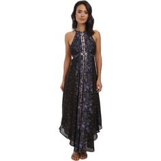 Free People Chiffon Printed Caught In The Moment Dress Women's Dress, Blue featuring polyvore, fashion, clothing, dresses, blue, blue chiffon dress, sleeveless dress, chiffon maxi dress, blue maxi dress and free people dresses
