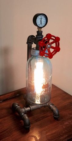 Cool Mason Jar lamp with a rotating valve handle switch!