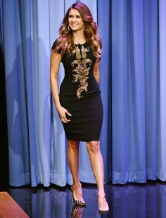 Nina Dobrev wears Naeem Khan to tape Tonight Show with Jimmy Fallon on Aug. 5, 2014, in NYC.