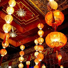 Decorative lanterns cascaded from the ceiling in this downtown Chiang Mai restaurant near the Night Market.