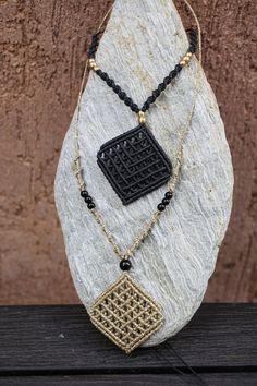 Macrame net pendant diamond shaped boho gipsy style