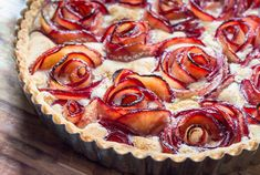 Classic dessert tart, complete with simple French butter shortcrust, meringue filling & the unique addition of pluot fruit (plum + apricot hybrid) rosettes.