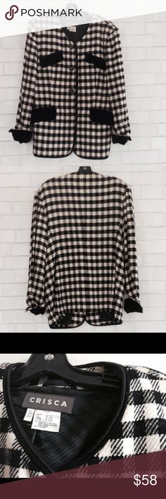 Crisca White and Black Paid Jacket Black and white plaid jacket with velvet trim. Size 8. Gently used in great condition. Crisca Jackets & Coats