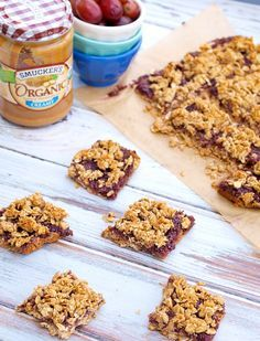 Peanut Butter and Jelly Breakfast Bars--these bars are so easy and a delicious, healthy way to start your morning!! Gluten-free, dairy-free recipe.  These are super kid-friendly and great for making ahead of time and eating on busy mornings.