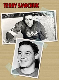 Terry Sawchuck was born and raised in Winnipeg. When his big brother died at just 17, Terry inherited his goalie equipment and started playing for a local team. He had damaged his elbow at rugby, leaving his left arm a few inches shorter then the right & with limited mobility. Despite this, he was scouted by the Red Wings at only 14. In his 21 NHL seasons, he recorded 447 wins & 103 shutouts. His shutout record wasn't surpassed until 2009. In 1994 the Red Wings retired his number. Fittingly… King Baby, My King, Nhl Season, Detroit Red Wings, Rugby, Hockey, Baseball Cards, Watch, Sports