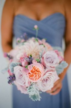 Lavender + Peach Bouquet absolutely beautiful