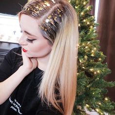 Glitter Roots For Your Holiday Parties Anyone HolidayHair #Hair #Trusper #Tip