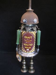 Cocoa Bot found object robot sculpture assemblage by by ckudja