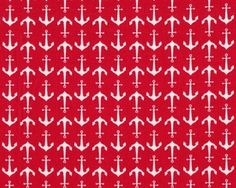 Patchworkstoff HOLIDAY BANNERS, Anker, rot