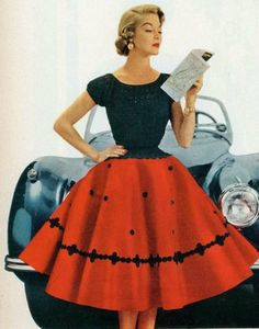 theniftyfifties: Jean Patchet wearing a red and black circle skirt, Vintage Outfits, Robes Vintage, Vintage Dresses, Vintage Clothing, Vintage Skirt, Fifties Fashion, Retro Fashion, Vintage Fashion, 1950s Fashion Hair