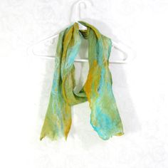 #Cobweb #Felted #Scarf #Wool #Turquoise #Orange #Green #Long #Bright #Womens #Winter #Accessory Lightweight Scarf OOAK by Fibernique on Etsy $48
