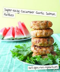 Super-easy 4 ingredient Cucumber Garlic Salmon Patties #eatclean #recipes --- To decarb use lowcarb crumbs and make your own yogurt blend.