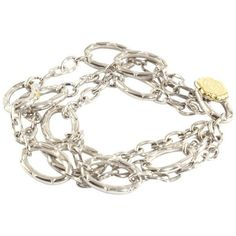 Pre-owned Tacori Sterling Silver 18K Yellow Gold Multi Strand Link... ($472) ❤ liked on Polyvore