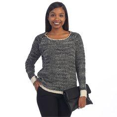 Hadari Women's Contemporary Glittery Sweater Top (Small-)