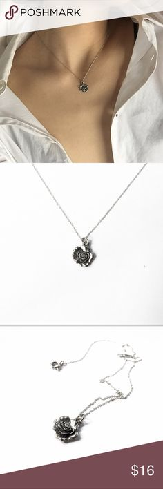 """Silver rose pendant / charm necklace 16"""" long, delicate Jewelry Necklaces"""