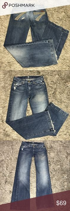 """7 For All Mankind DOJO Wide Leg Jeans Size 28 Size 26 7 For All Mankind DOJO jeans.  Dark wash with distressing. Button and zip fly.  100% cotton.  Factory Distressed.  Hems have wear as photographed in pics.  Pre-owned condition.    Length: 41"""" Inseam: 32.5"""" Rise: 8"""" Waist: 15.5"""" across Leg opening: 10""""  Item #4001  ❌No trades ✔️Reasonable offers accepted ✔️Fast shipping - same day/next day 🛍Bundle discounts! 20% off 2; 30% off 3+  🚭Smoke free home. 7 For All Mankind Jeans Flare & Wide…"""