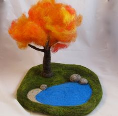 Changing Seasons- Needle Felted Play Mat- Waldorf Toy